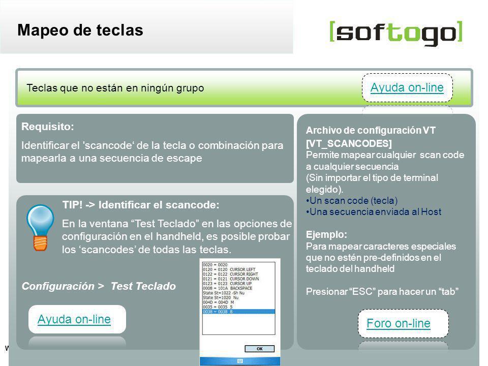 Mapeo de teclas Ayuda on-line Ayuda on-line Foro on-line