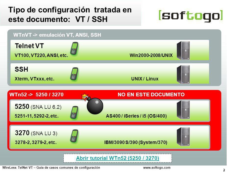 Tipo de configuración tratada en este documento: VT / SSH