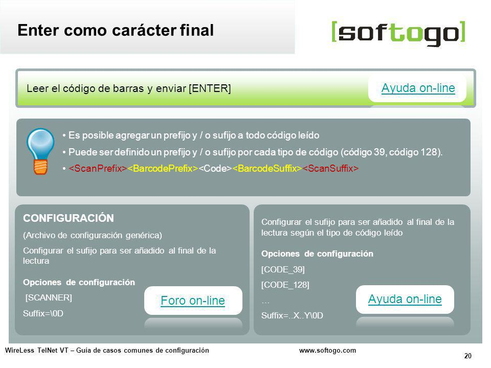 Enter como carácter final