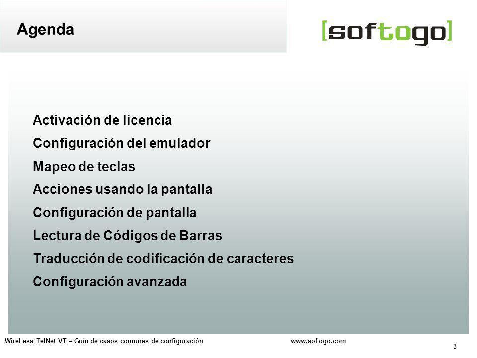 Agenda Activación de licencia Configuración del emulador