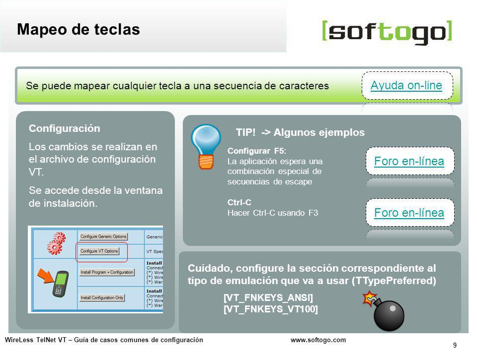 Mapeo de teclas Ayuda on-line Foro en-línea Foro en-línea