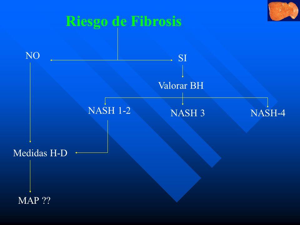 Riesgo de Fibrosis NO SI Valorar BH NASH 1-2 NASH 3 NASH-4 Medidas H-D