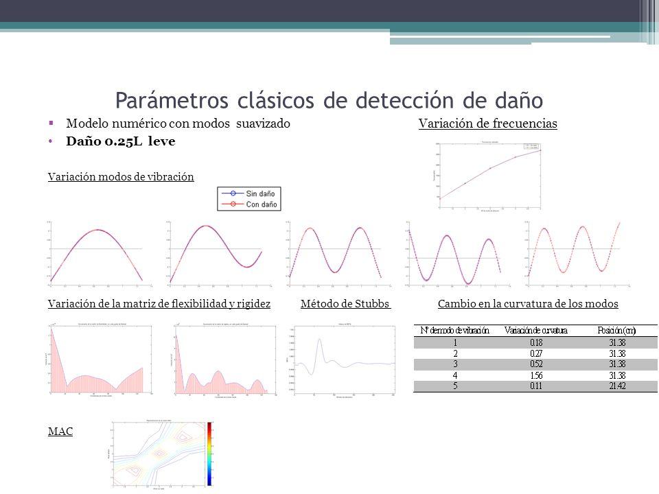 Parámetros clásicos de detección de daño