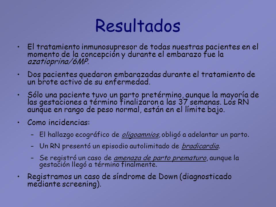 Resultados El tratamiento inmunosupresor de todas nuestras pacientes en el momento de la concepción y durante el embarazo fue la azatioprina/6MP.
