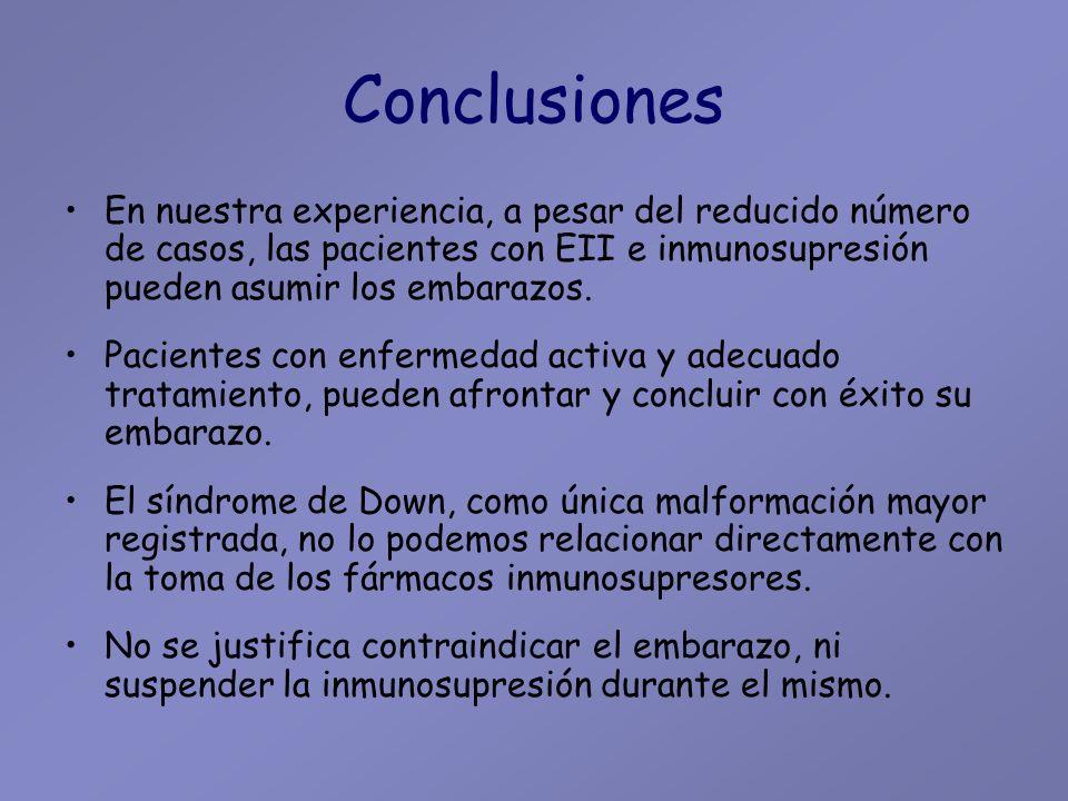 Conclusiones En nuestra experiencia, a pesar del reducido número de casos, las pacientes con EII e inmunosupresión pueden asumir los embarazos.