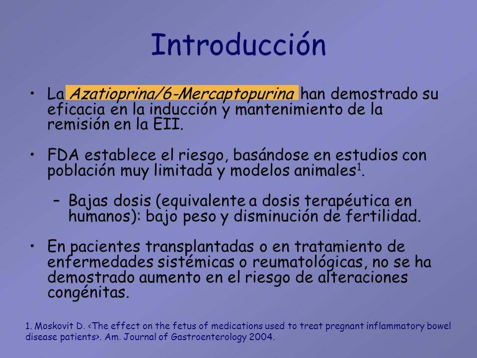Introducción La Azatioprina/6-Mercaptopurina han demostrado su eficacia en la inducción y mantenimiento de la remisión en la EII.