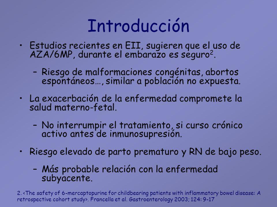 Introducción Estudios recientes en EII, sugieren que el uso de AZA/6MP, durante el embarazo es seguro2.