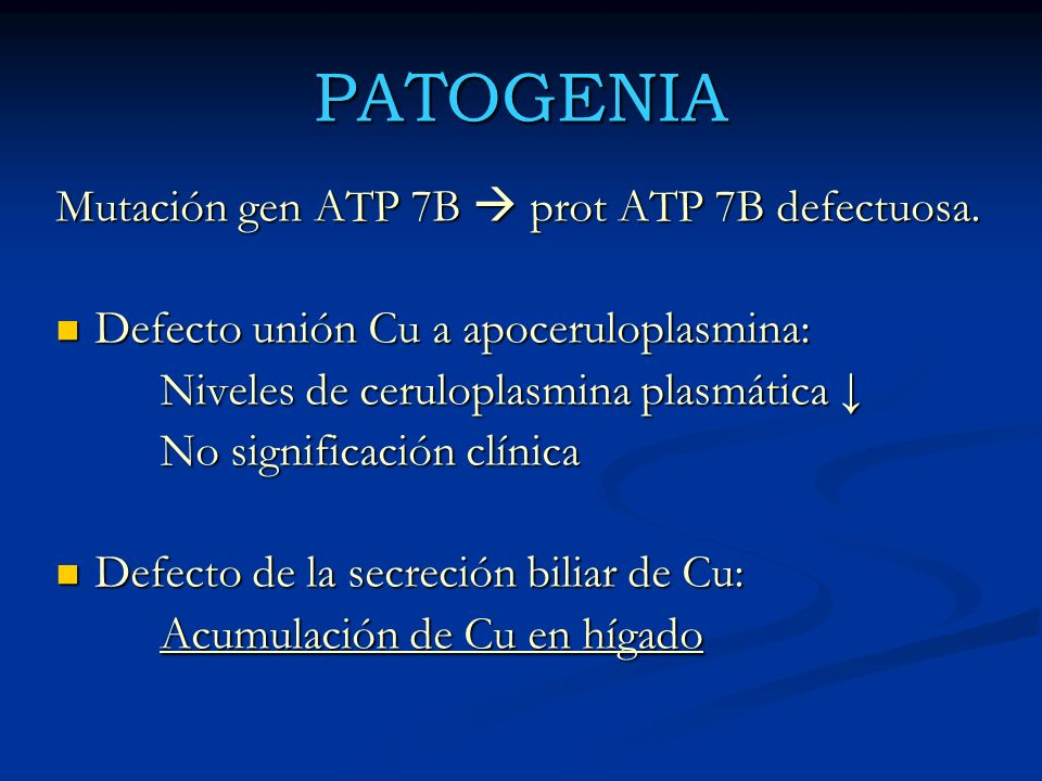PATOGENIA Mutación gen ATP 7B  prot ATP 7B defectuosa.