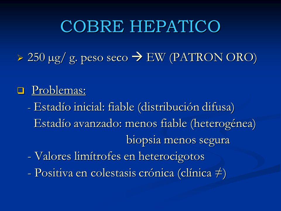 COBRE HEPATICO 250 µg/ g. peso seco  EW (PATRON ORO) Problemas: