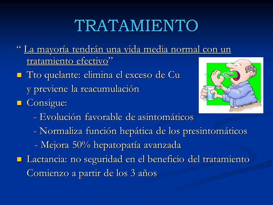 TRATAMIENTO La mayoría tendrán una vida media normal con un tratamiento efectivo Tto quelante: elimina el exceso de Cu.