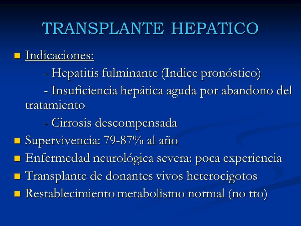 TRANSPLANTE HEPATICO Indicaciones:
