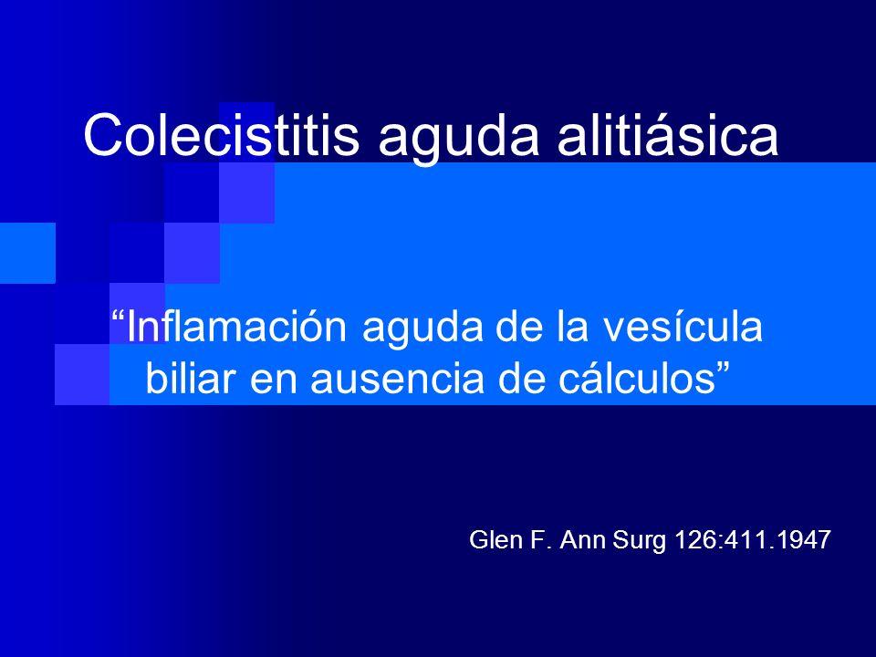 Inflamación aguda de la vesícula biliar en ausencia de cálculos