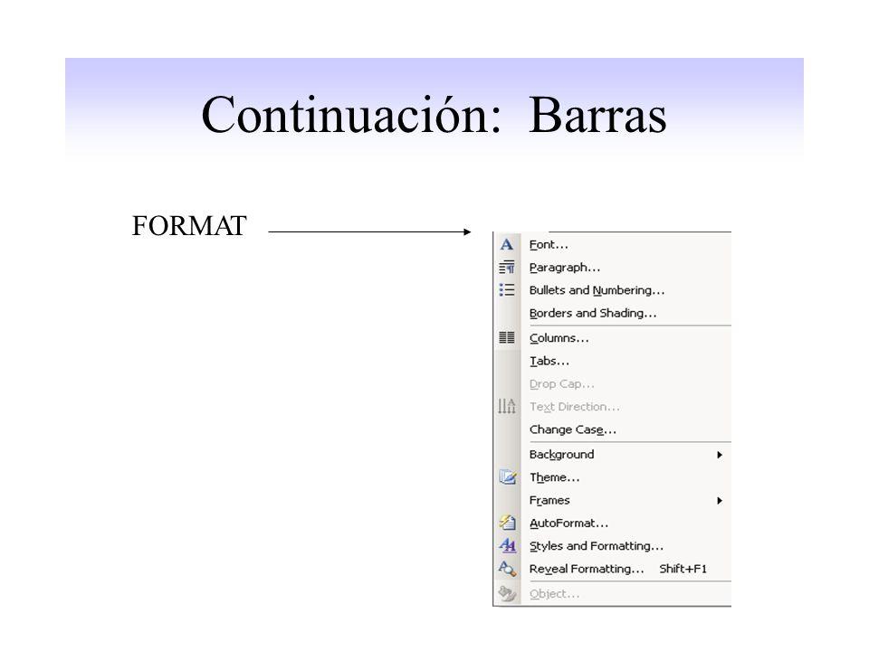 Continuación: Barras FORMAT