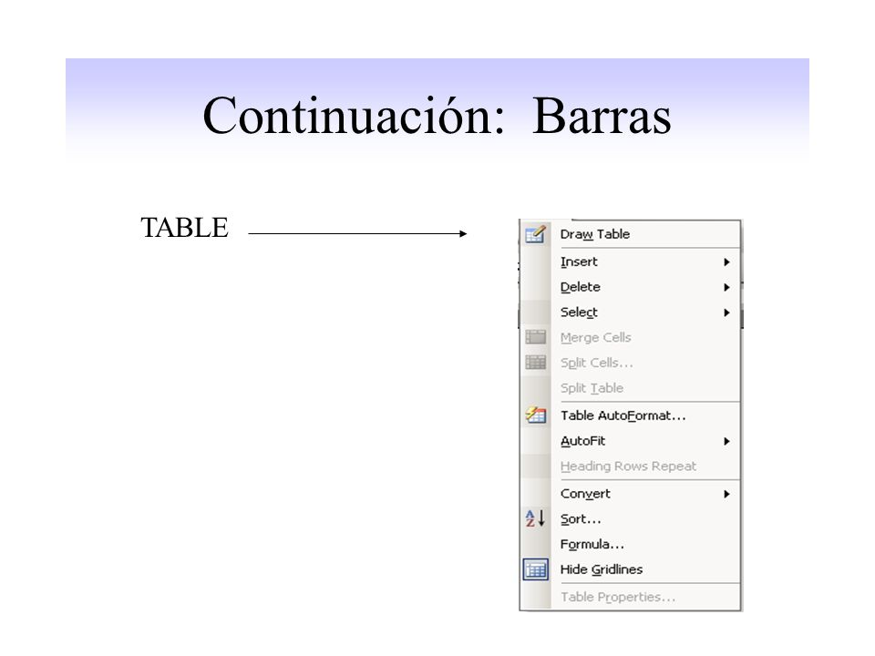 Continuación: Barras TABLE