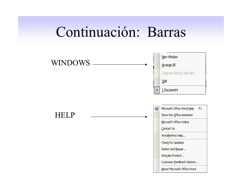 Continuación: Barras WINDOWS HELP