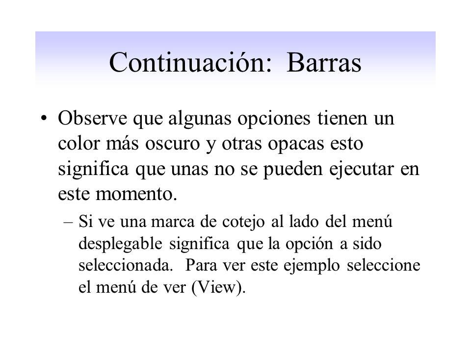 Continuación: Barras