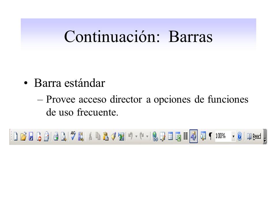 Continuación: Barras Barra estándar