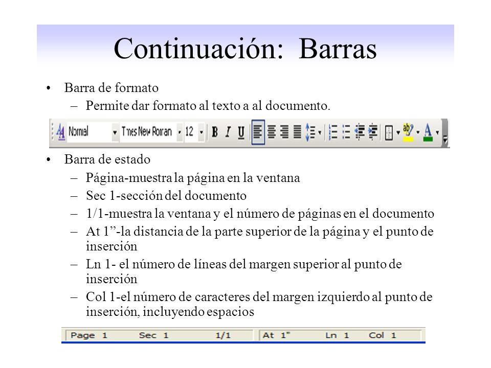 Continuación: Barras Barra de formato