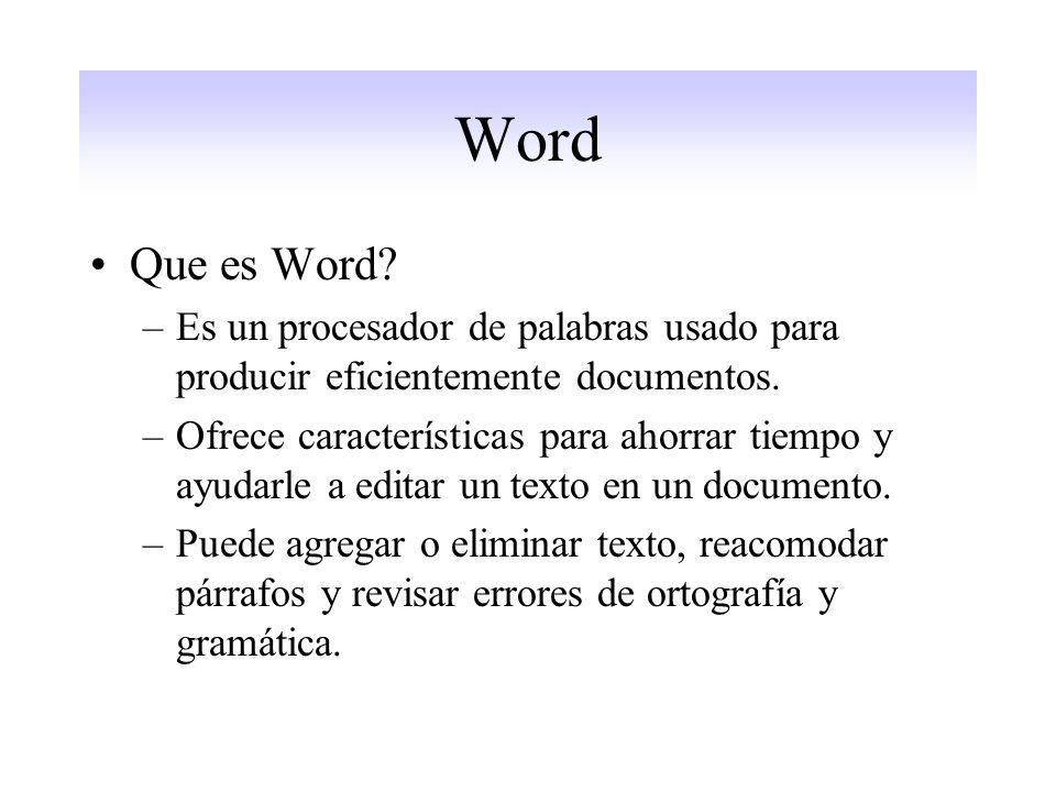 Word Que es Word Es un procesador de palabras usado para producir eficientemente documentos.