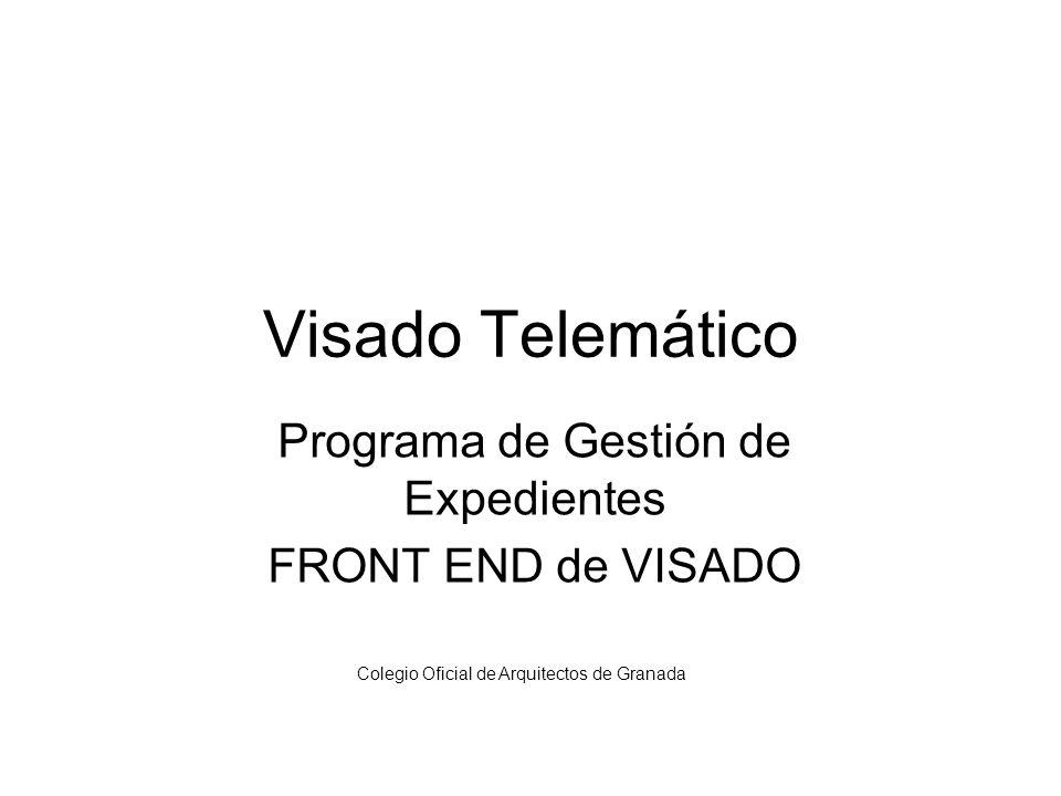 Programa de Gestión de Expedientes FRONT END de VISADO