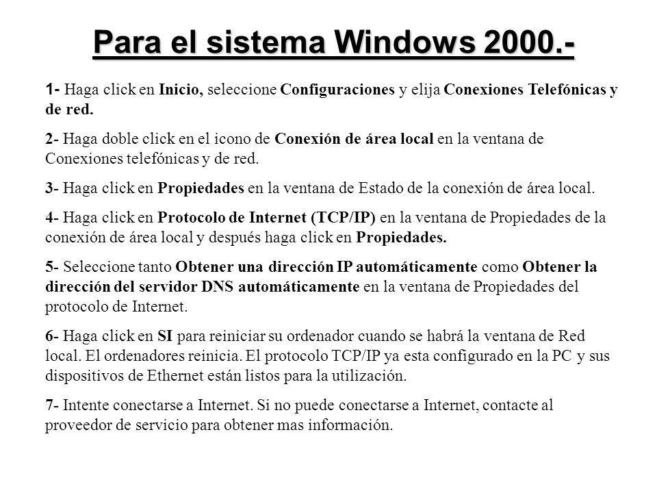 Para el sistema Windows 2000.-