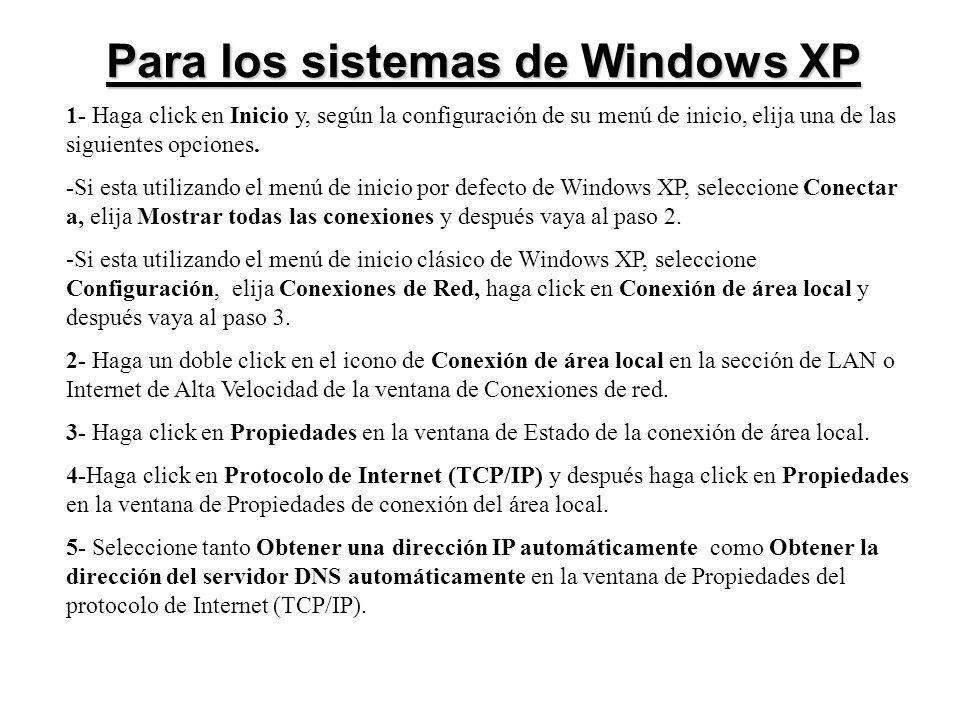 Para los sistemas de Windows XP