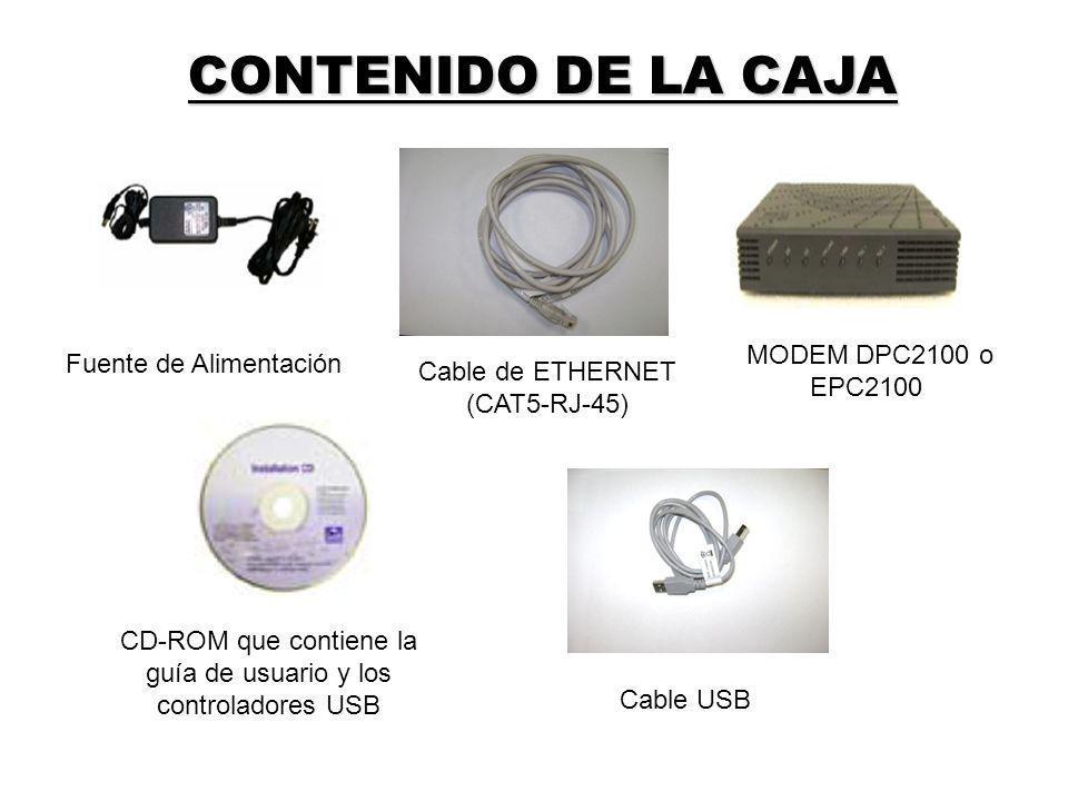 CONTENIDO DE LA CAJA MODEM DPC2100 o EPC2100 Fuente de Alimentación