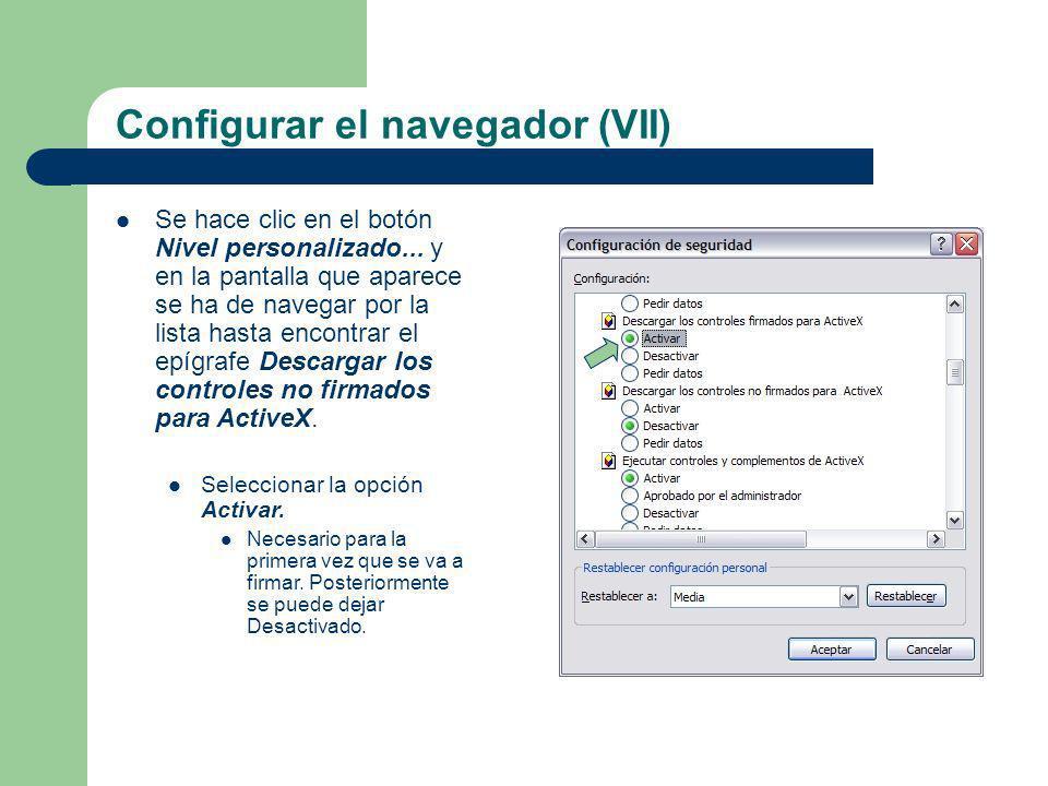 Configurar el navegador (VII)