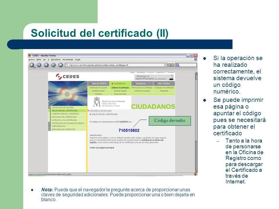 Solicitud del certificado (II)