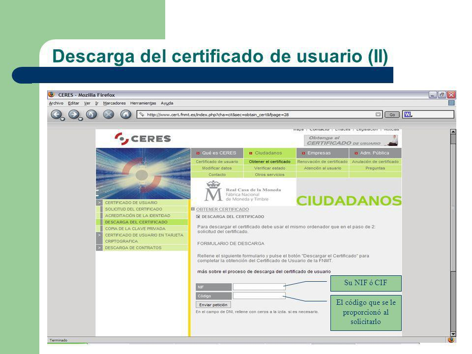 Descarga del certificado de usuario (II)