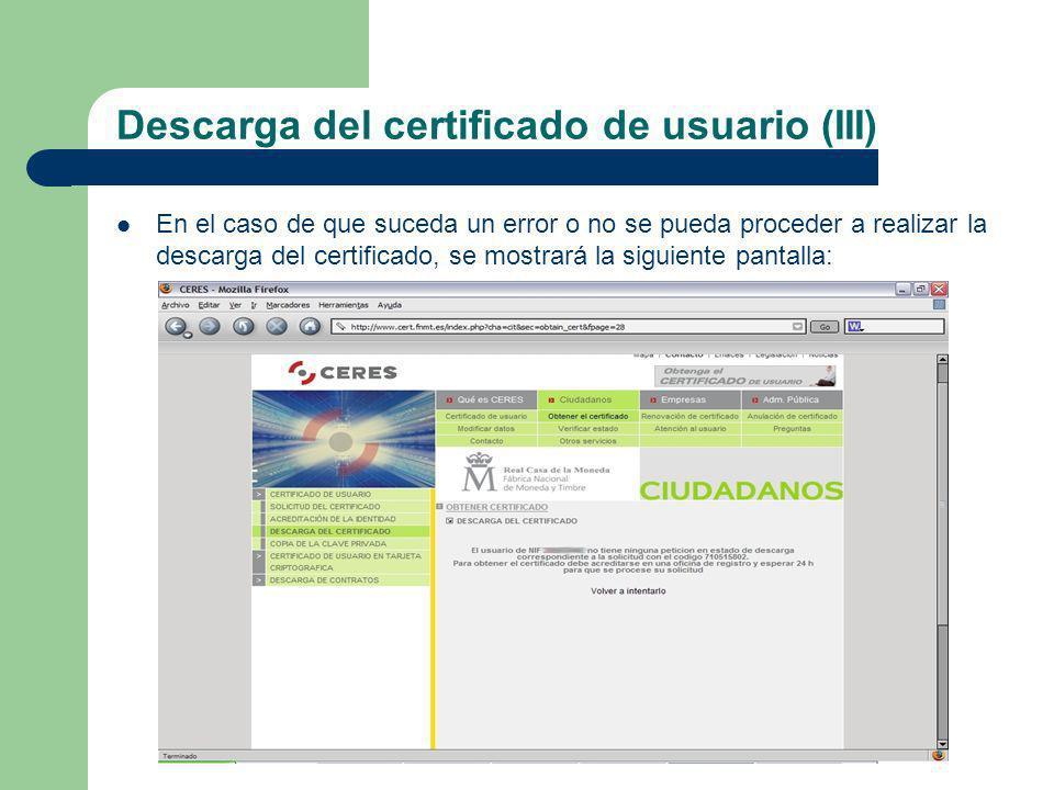 Descarga del certificado de usuario (III)