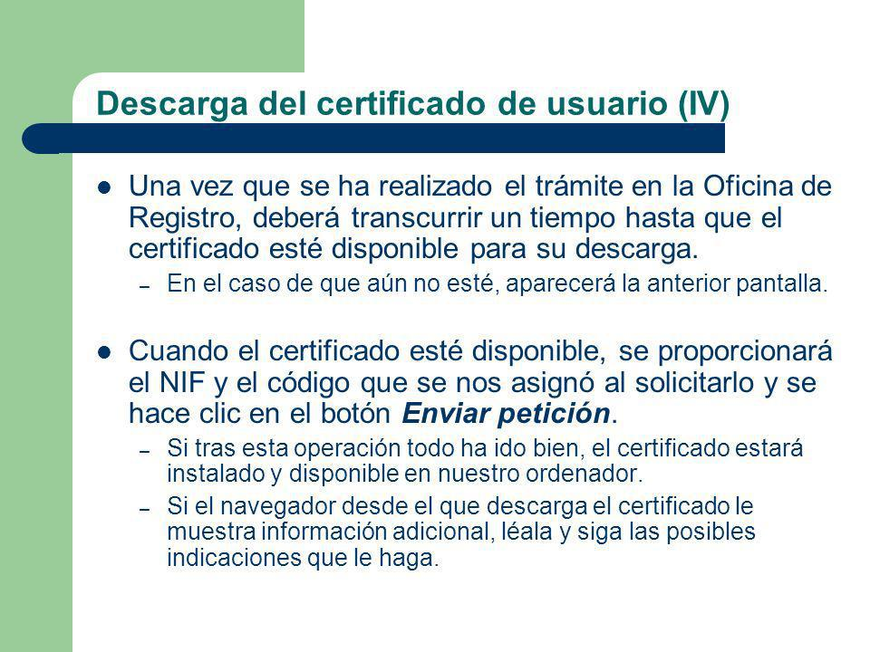 Descarga del certificado de usuario (IV)