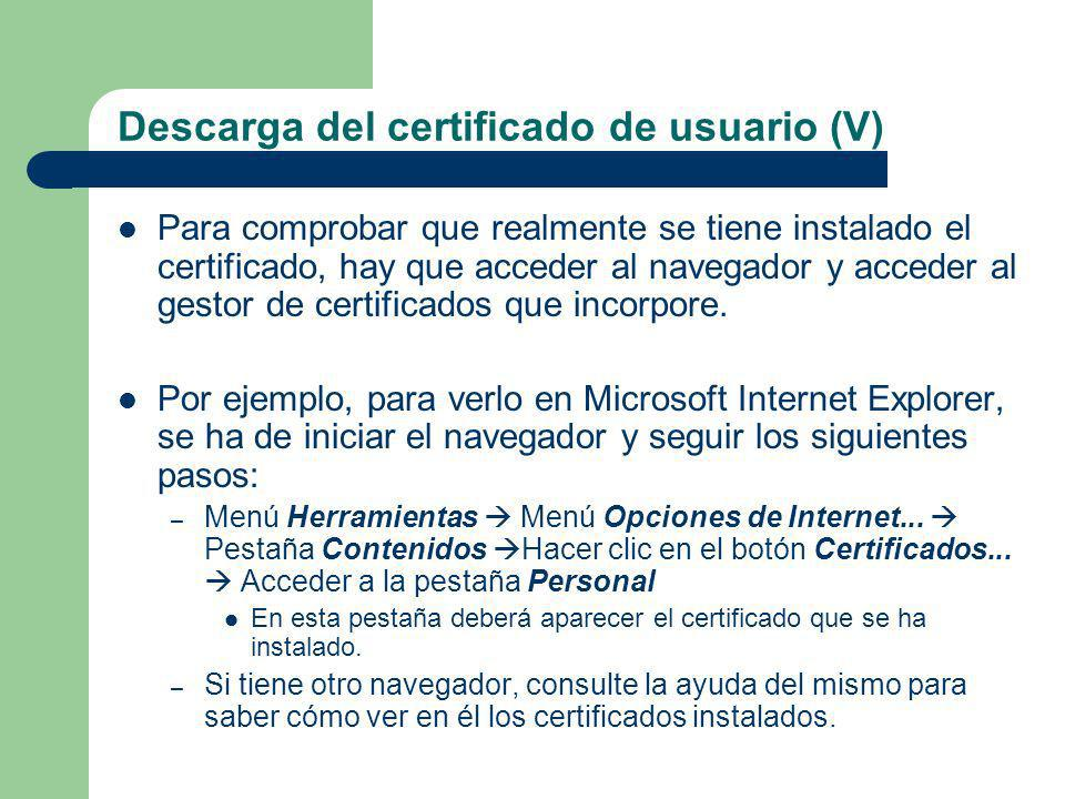 Descarga del certificado de usuario (V)
