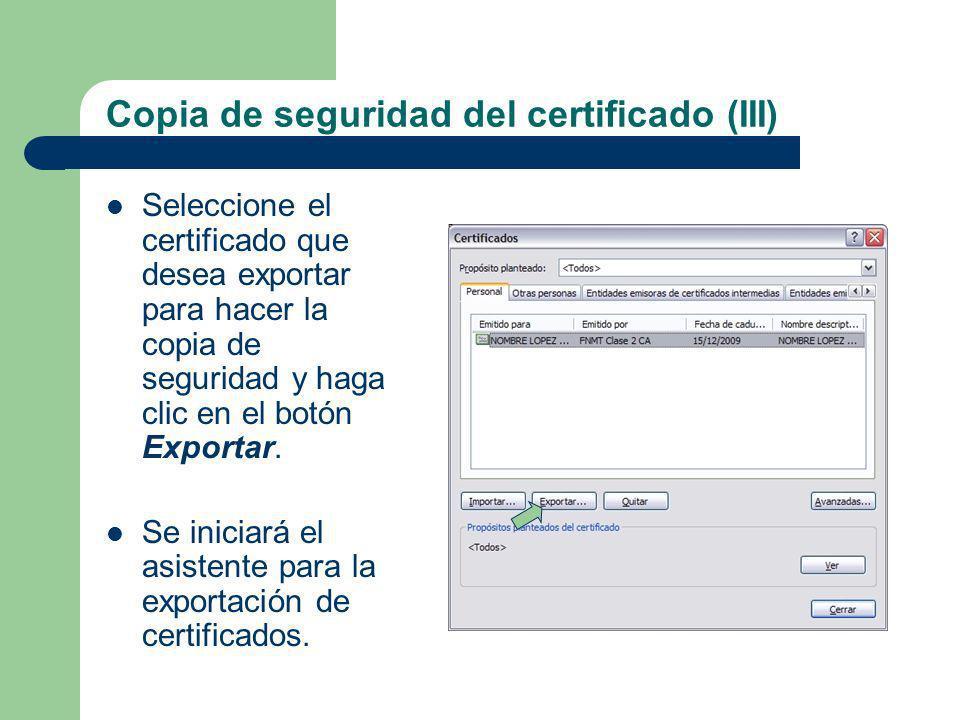 Copia de seguridad del certificado (III)