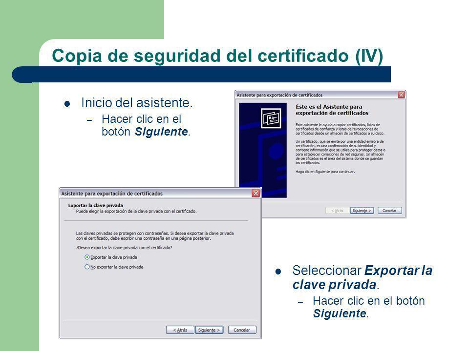 Copia de seguridad del certificado (IV)