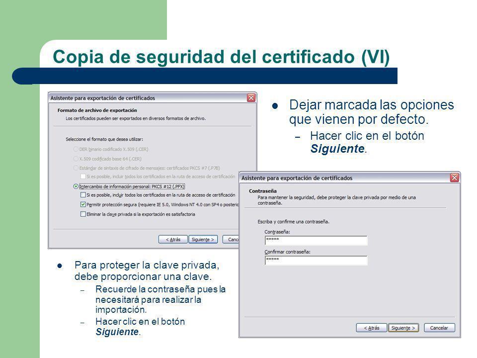 Copia de seguridad del certificado (VI)