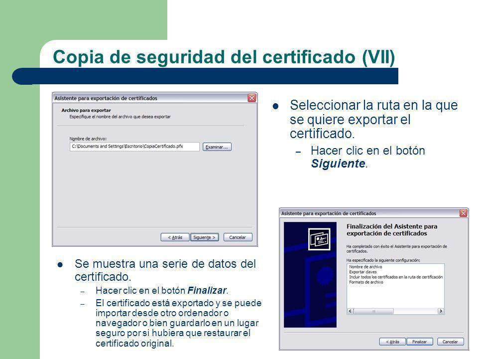 Copia de seguridad del certificado (VII)