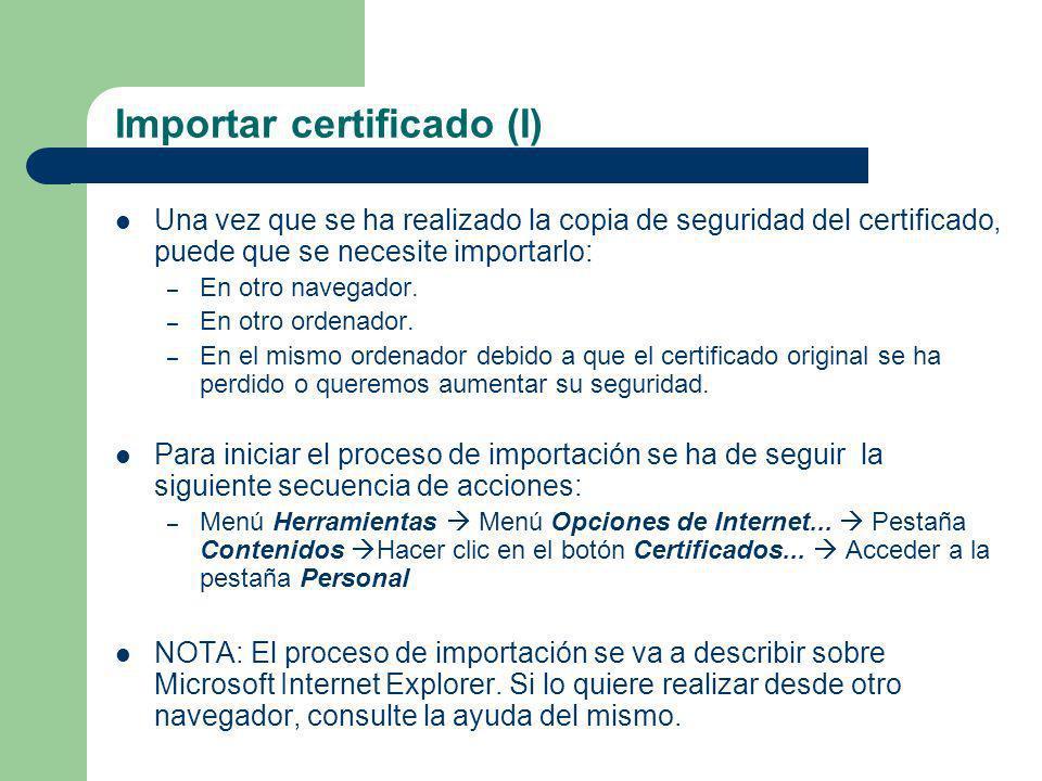 Importar certificado (I)