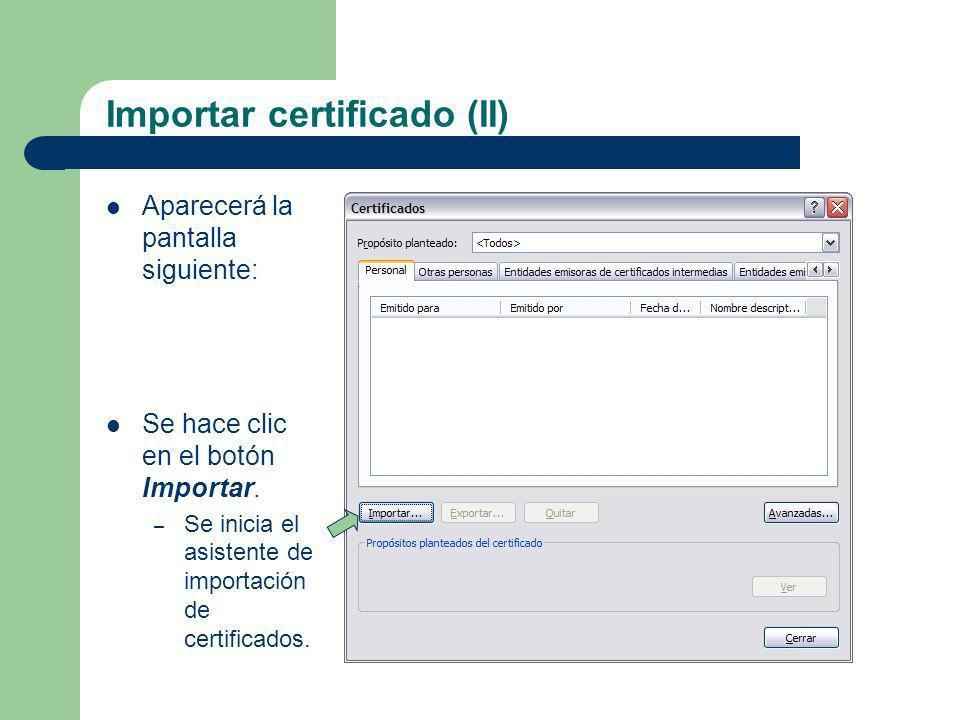 Importar certificado (II)