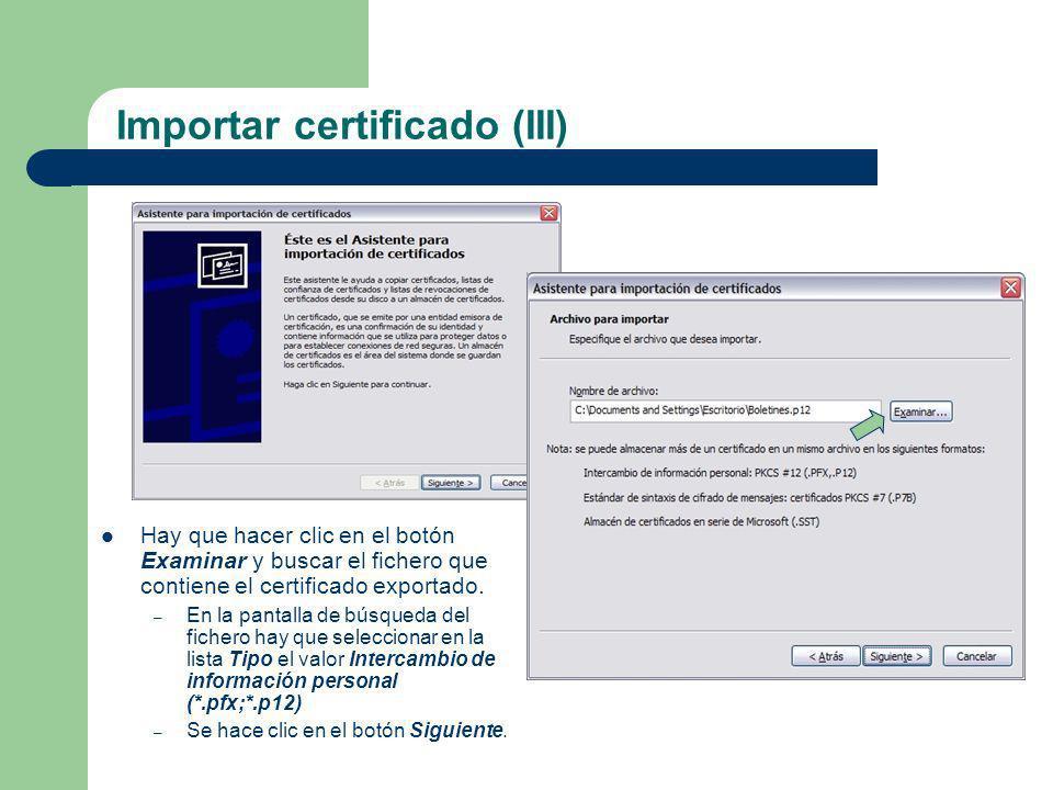 Importar certificado (III)