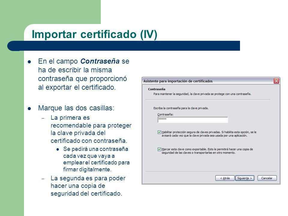Importar certificado (IV)