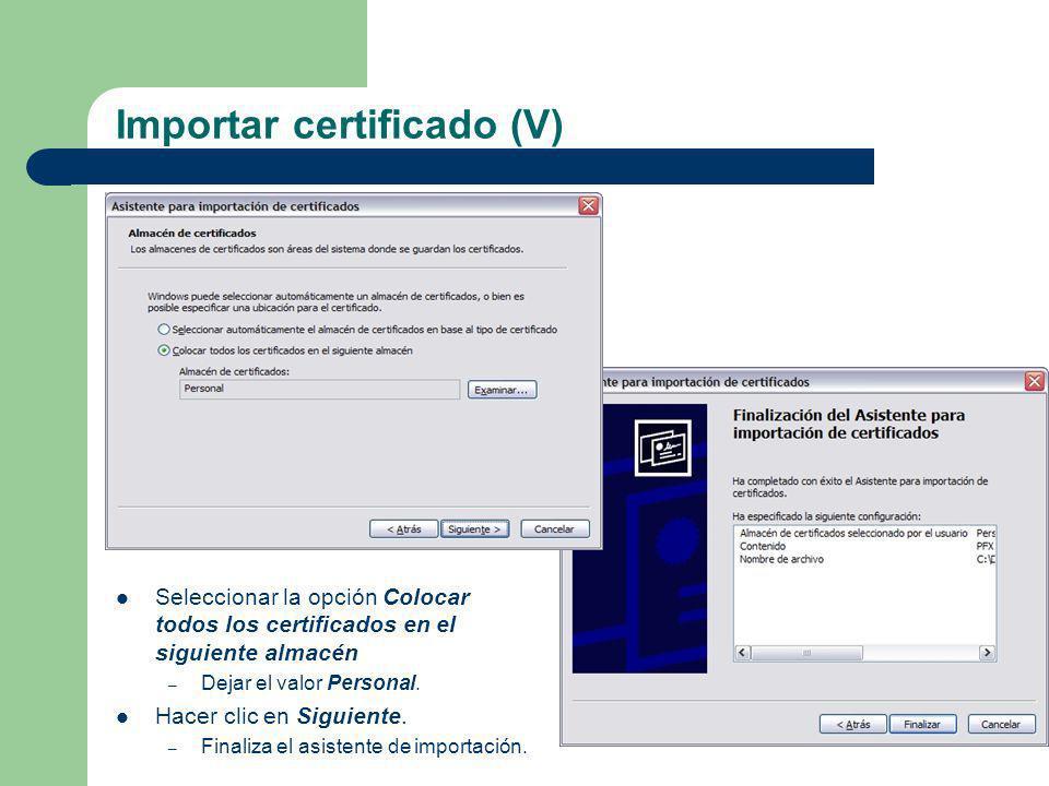 Importar certificado (V)