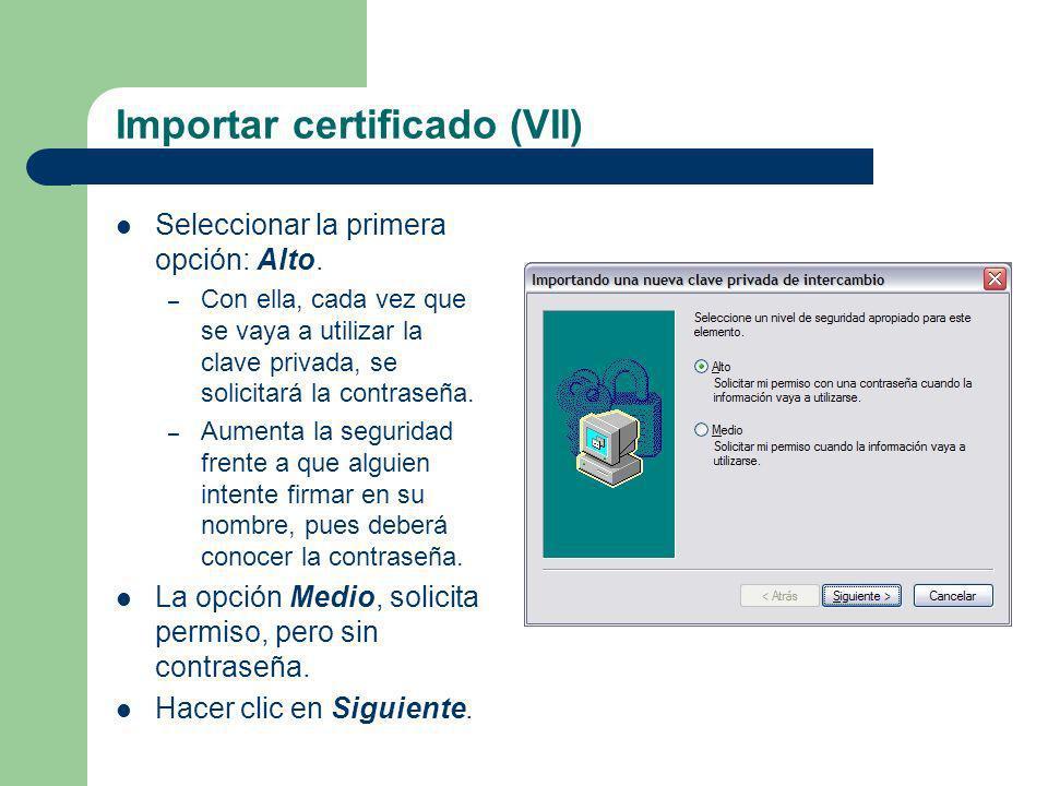Importar certificado (VII)