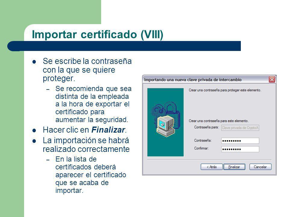 Importar certificado (VIII)