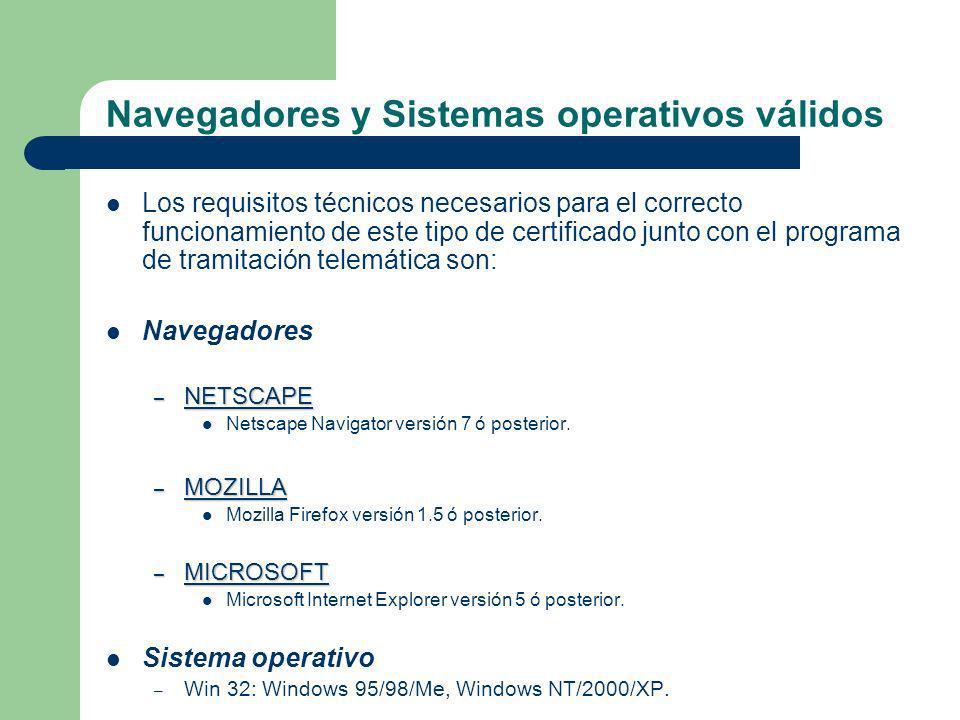 Navegadores y Sistemas operativos válidos