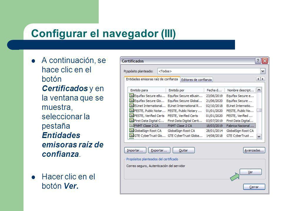 Configurar el navegador (III)