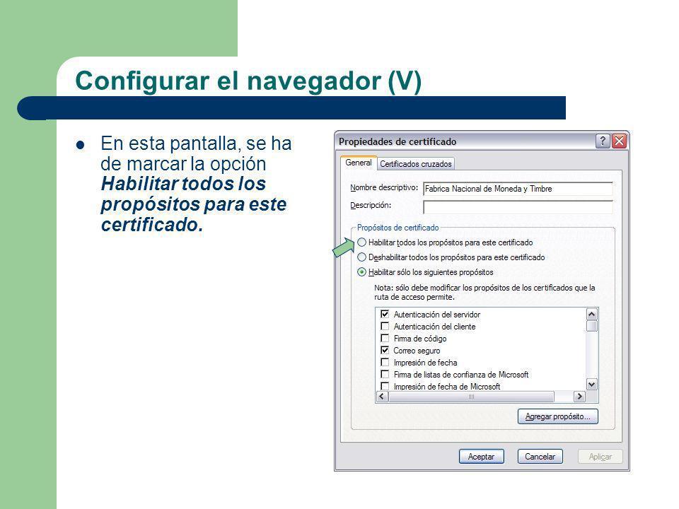 Configurar el navegador (V)