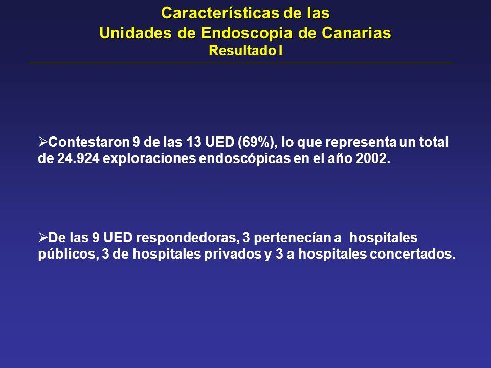 Características de las Unidades de Endoscopia de Canarias