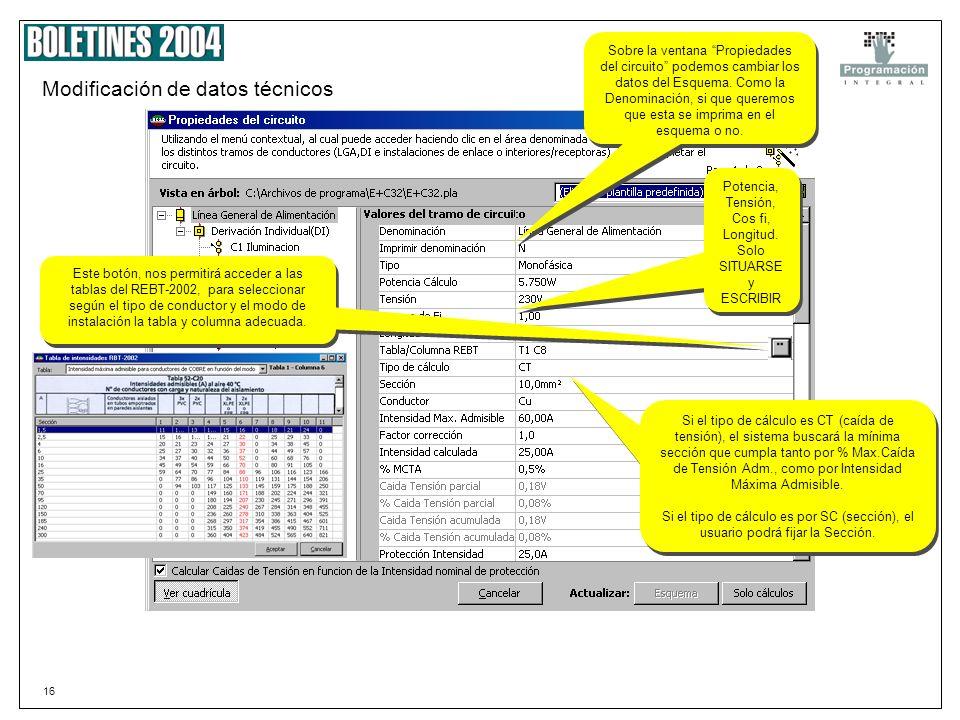 Modificación de datos técnicos