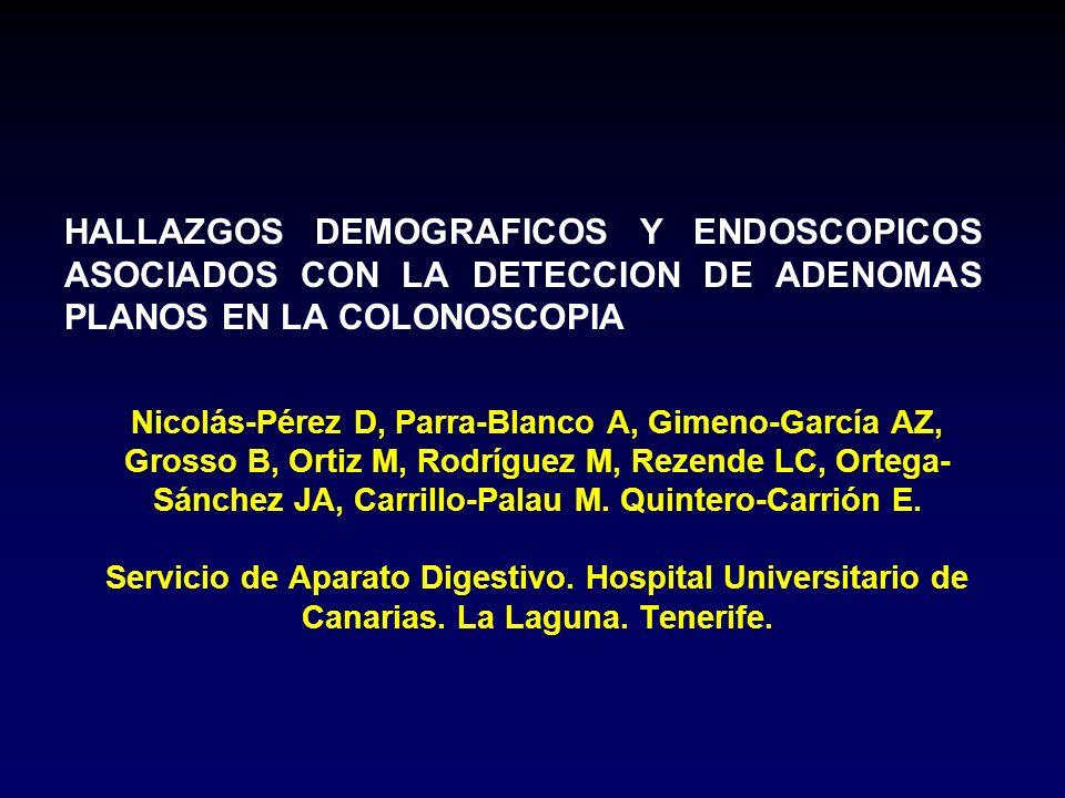 HALLAZGOS DEMOGRAFICOS Y ENDOSCOPICOS ASOCIADOS CON LA DETECCION DE ADENOMAS PLANOS EN LA COLONOSCOPIA